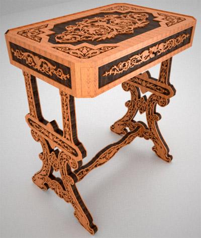 La scie à chantourner n'est pas réservée aux seuls puzzles ou jouets en bois, comme ici avec cette table ornementée. (© www.finescrollsaw.com)
