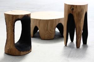Série de tabourets / tables basses en chêne massif 63 x 36 x 36 cm 55 x 32 x 35 cm 75 x 33 x 46 cm Design & réalisation : Kaspar Hamacher Autoproduction Kaspar Hamacher