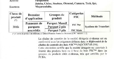 Certification FSC Parqueterie Berrichonne