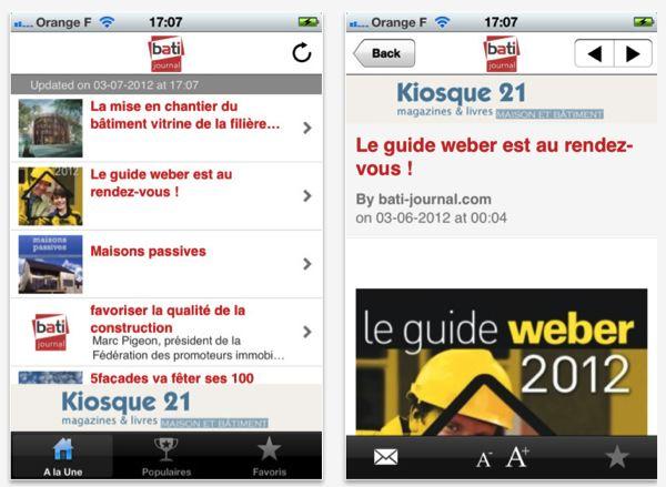 Application iOS Bati journal