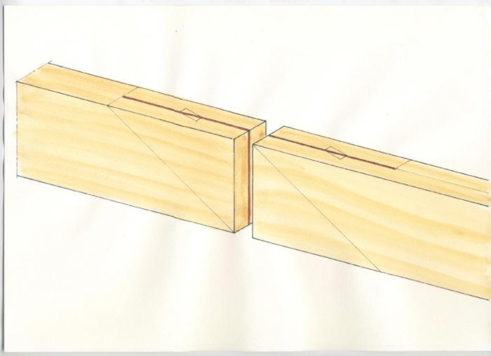 Figure Le traçage ne pose pas de grande difficulté. Exécuté à l'équerre, à la fausse équerre et au couteau à tracer, il vous suffira d'être précis. L'épaisseur de chacun des sifflets correspond à la moitié de l'épaisseur de la pièce. Pour le traçage du trait d'arasement à pan coupé, il suffit de se souvenir que plus l'angle sera faible et mieux ce sera (entre 30 et 45°). Il est difficile de faire la découpe à la machine; éventuellement à la scie à ruban avec un montage (et encore!). Le mieux est encore de travailler à la scie fine (japonaise de préférence).