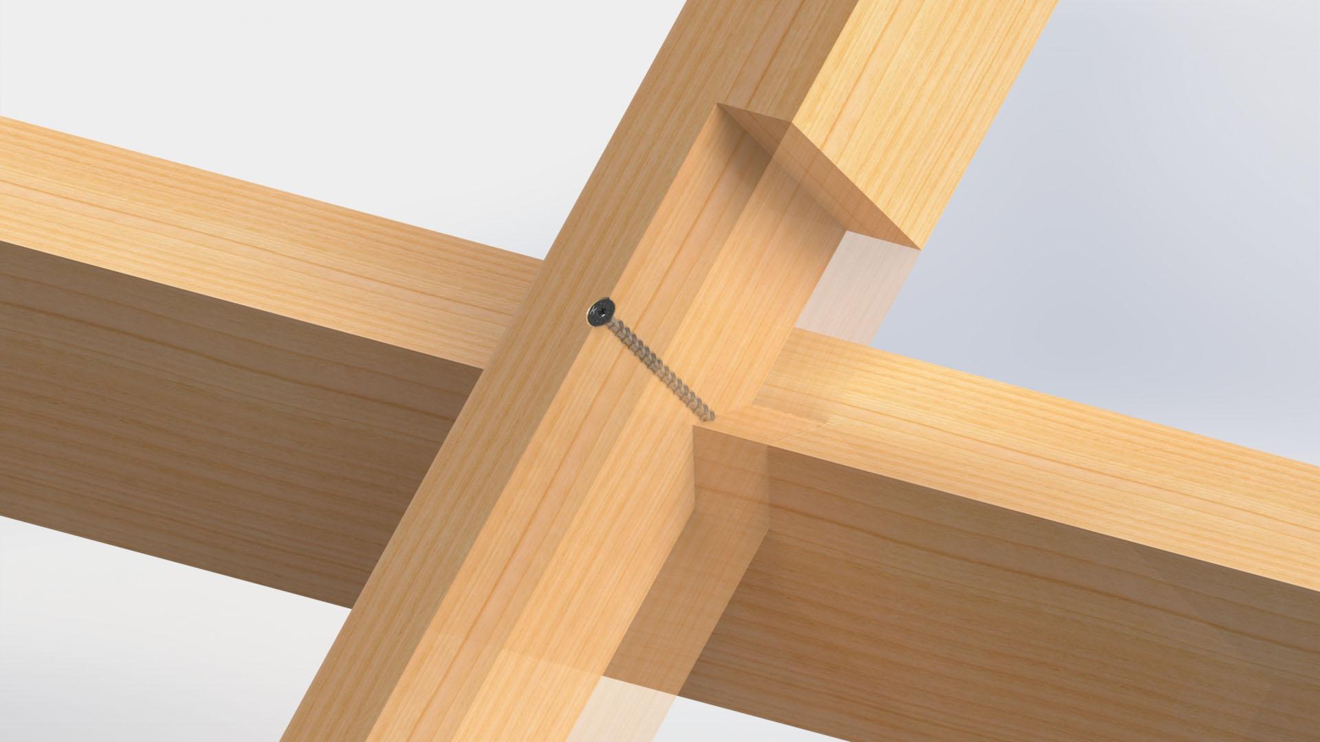 Grâce à ses propriétés techniques, la nouvelle vis HECO-TOPIX Filetage total convient aux fixations exposées à de fortes contraintes telles que les assemblages chevrons-pannes.